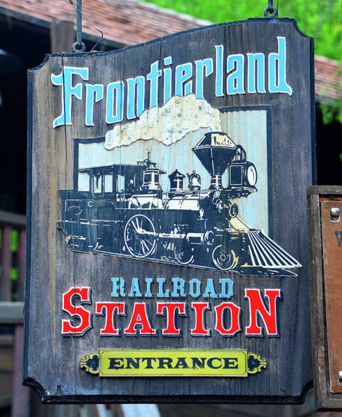 Wall Art - Photograph - Frontierland Railroad Station Sign Circa 1971 by David Lee Thompson