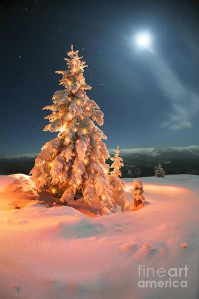 Illuminated Wall Art - Photograph - Frosty Winter Night Of Christening - by Roman Mikhailiuk