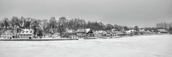Photograph - Frozen Boathouse Row In Black And White by Bill Cannon