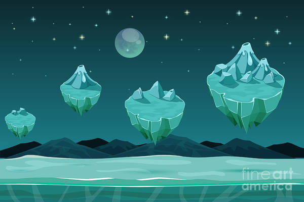 Wall Art - Digital Art - Frozen Game Planet Horizontal by Mssa