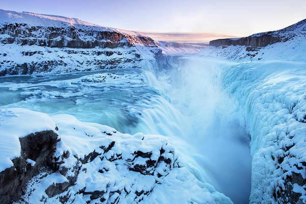 Frozen Gullfoss Falls In Iceland In Art Print by Sara winter