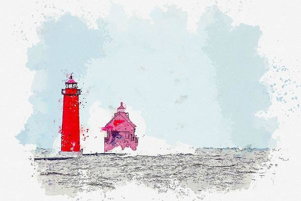 Painting - Frozen Lighthouse 2 -  Watercolor By Adam Asar by Adam Asar