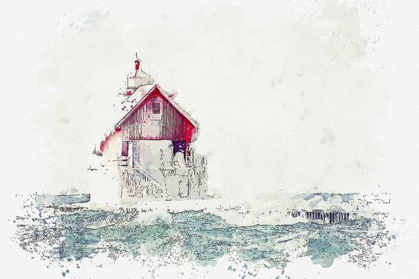 Painting - Frozen Lighthouse 3 -  Watercolor By Adam Asar by Adam Asar