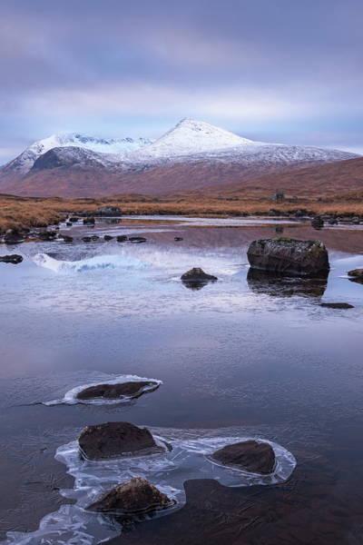 Moor Photograph - Frozen Lochan Reflecting The Black by Adam Burton / Robertharding