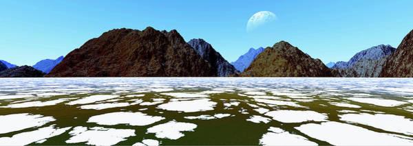 Ice Floes Wall Art - Digital Art - Frozen Panoramic Landscape.digitally by Raj Kamal