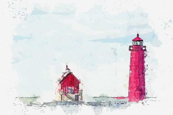 Painting - Frozen Red Lighthouse -  Watercolor By Adam Asar by Adam Asar