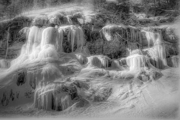 Wall Art - Photograph - Frozen Snowmelt B And W by Donna Kennedy