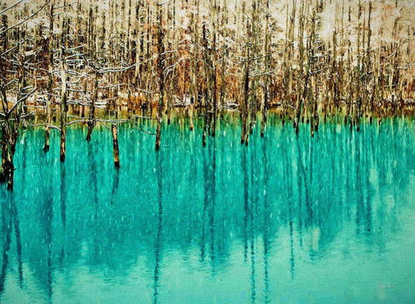Frozen Lake Digital Art - Frozen Trees On A Blue Pond by Russ Harris