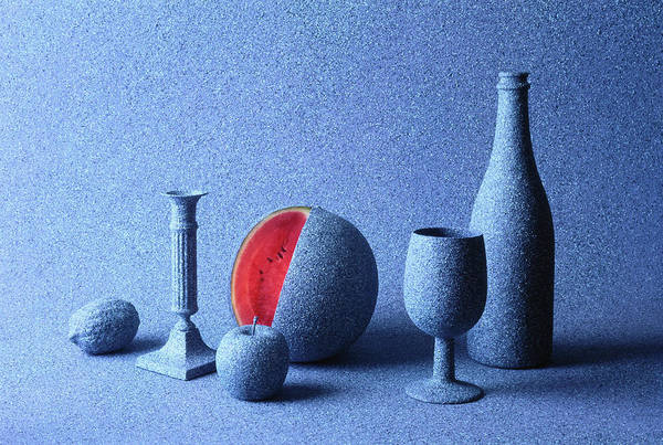 Mottled Wall Art - Photograph - Fruit, Bottle, Cup And Candle Stick by John W Banagan