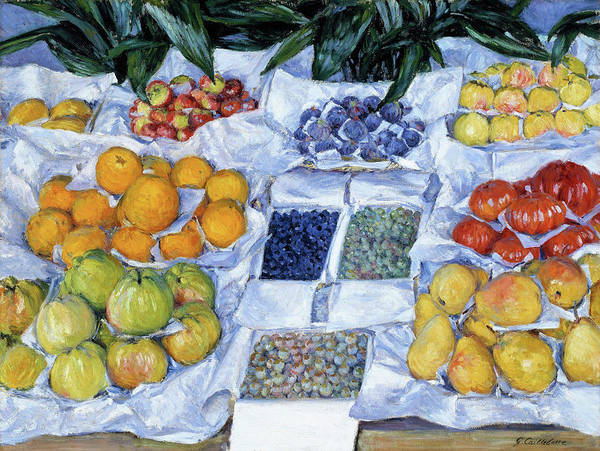 Wall Art - Painting - Fruit Displayed On A Stand - Digital Remastered Edition by Gustave Caillebotte