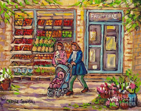 Painting - Fruit Store Painting Fresh Fruit Baskets Jean Talon To Atwater Markets C Spandau Street Scene Artist by Carole Spandau