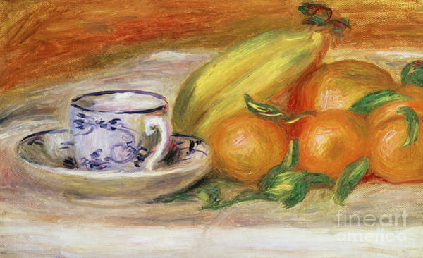 Wall Art - Painting - Fruit With Cup And Saucer, Circa 1913 by Pierre Auguste Renoir