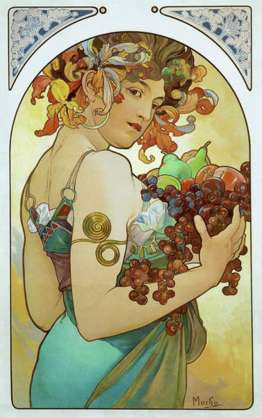 Persimmon Painting - Fruits - Digital Remastered Edition by Alfons Maria Mucha