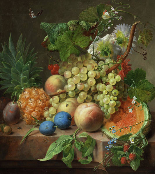 Wall Art - Painting - Fruits Still Life by Jan Frans Eliaerts