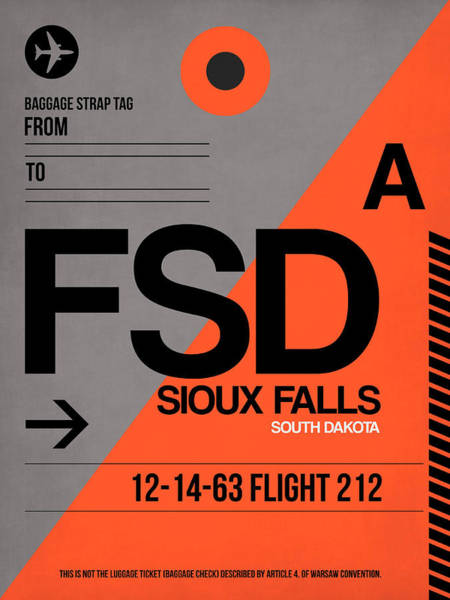 Sioux Wall Art - Digital Art - Fsd Sioux Falls Luggage Tag I by Naxart Studio