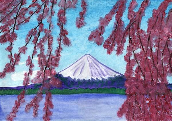 Painting - Sakura Blooming On The Background Of A Snowy Mountain by Irina Dobrotsvet