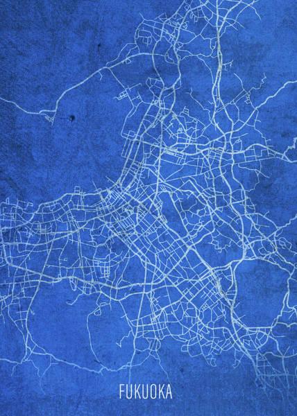 Wall Art - Mixed Media - Fukuoka Japan City Street Map Blueprints by Design Turnpike