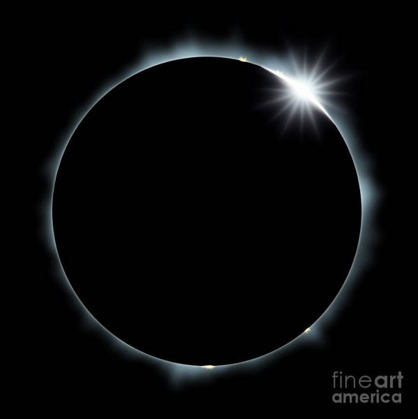 Atmosphere Wall Art - Digital Art - Full Eclipse Of The Sun On Black by Johan Swanepoel