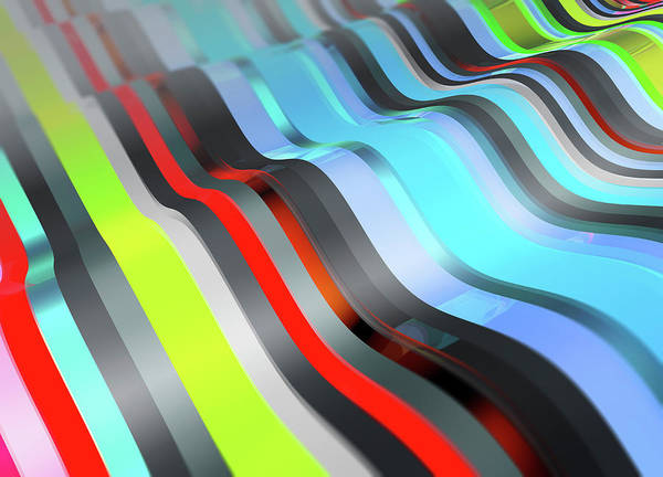 Wall Art - Photograph - Full Frame Multi Colored Striped Wave by Ikon Images