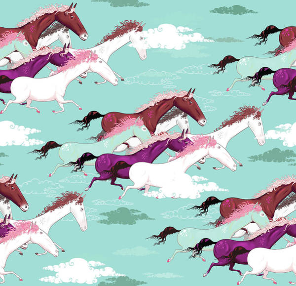 Full Length Digital Art - Full Frame Pattern Of Horses Running by Andy Ward