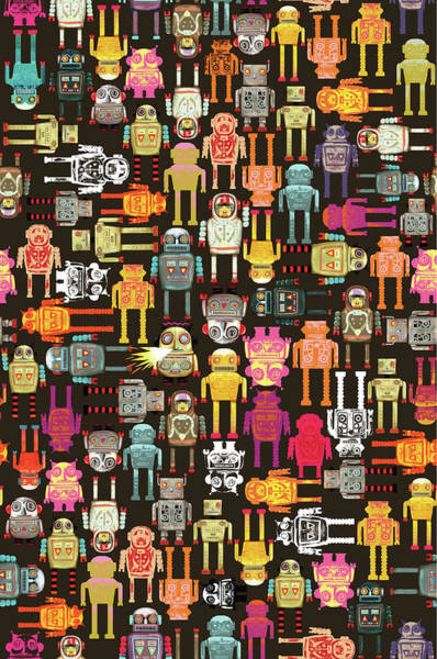 Individuality Digital Art - Full Frame Robot Pattern by Andy Ward