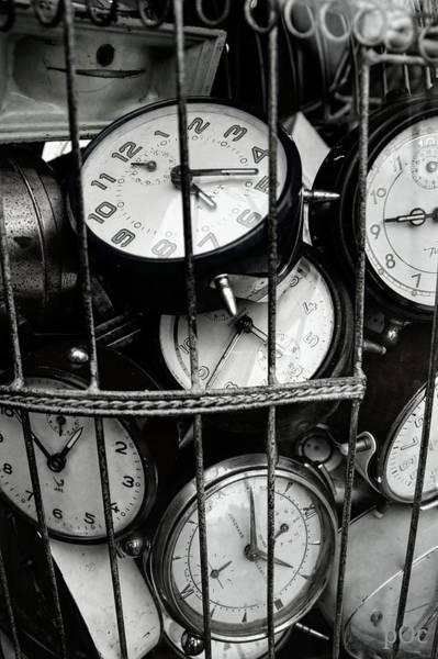 Photograph - Full Frame Shot Of Alarm Clocks by Piet Ocasek / Eyeem
