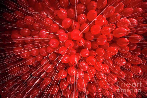 Wall Art - Photograph - Full Frame Shot Of Red Helium Balloons by Carmen Martínez Torrón