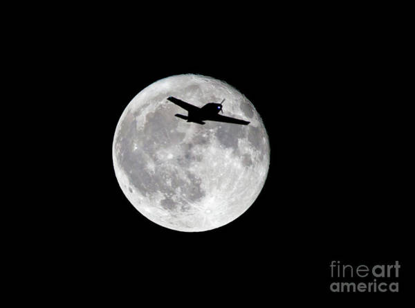 Photograph - Full Moon And Airplane by Kevin McCarthy