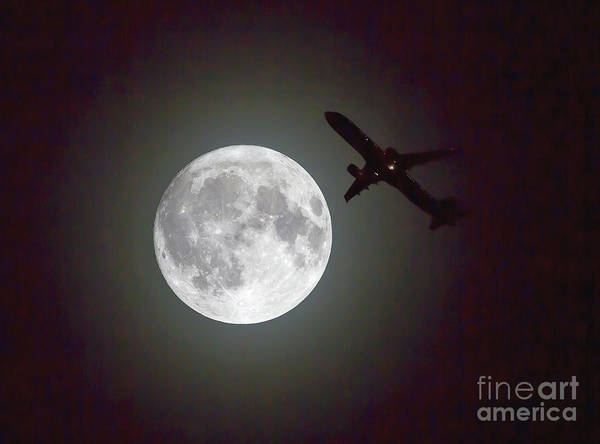 Photograph - Full Moon And Jet by Kevin McCarthy