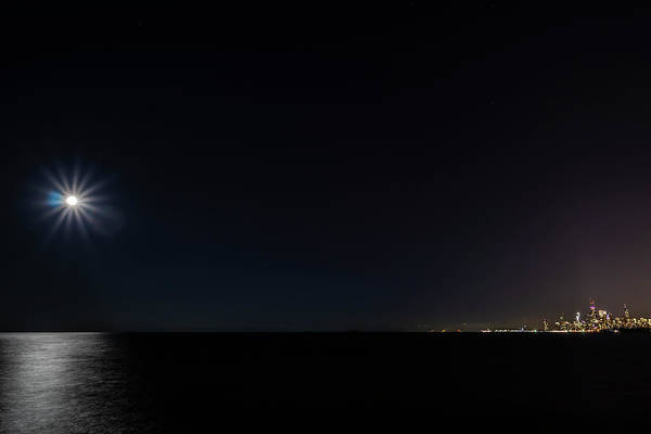 Wall Art - Photograph - Full Moon And Tiny Chicago Skyline by Sven Brogren