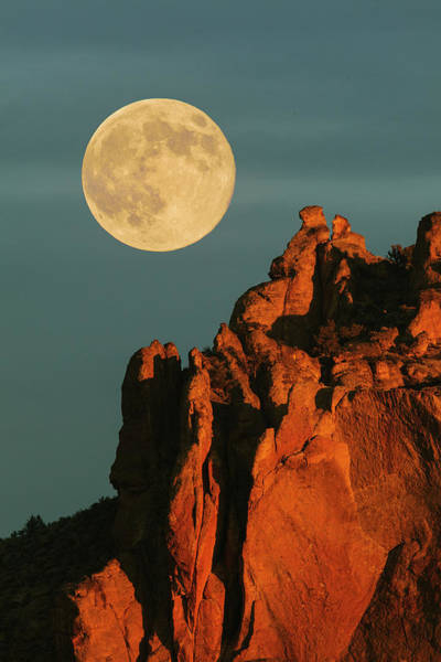 Full Moon At Sunrise Above The Basalt Art Print
