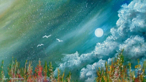 Wall Art - Painting - Full Moon by Faye Anastasopoulou