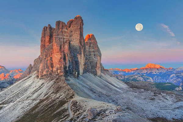 Photograph - Full Moon Morning On Tre Cime Di Lavaredo by Dmytro Korol