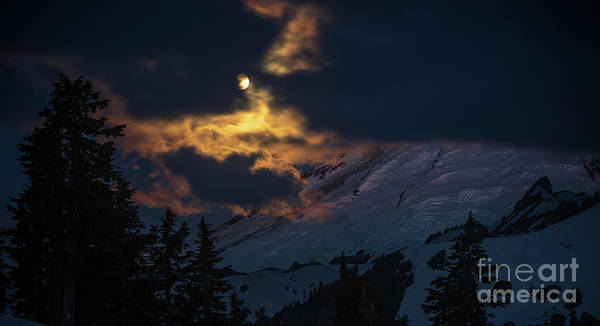 Wall Art - Photograph - Full Moon Mount Baker Light by Mike Reid