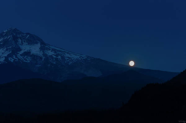 Photograph - Full Moon On Mt. Hood Flanks by Dee Browning