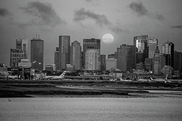 Photograph - Full Moon Over Boston Ma At Sunrise Black And White by Toby McGuire