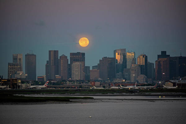 Photograph - Full Moon Over Boston Ma At Sunrise Bright Moon by Toby McGuire