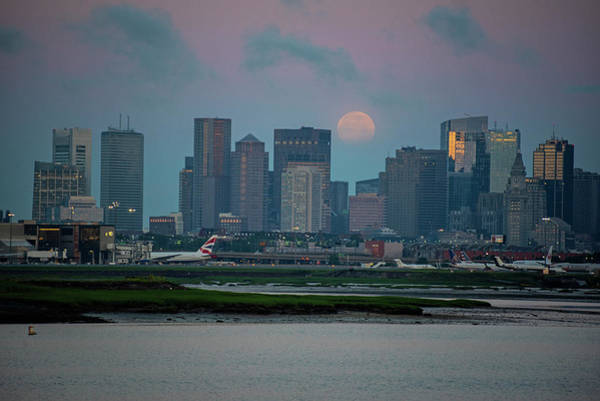 Photograph - Full Moon Over Boston Ma At Sunrise by Toby McGuire