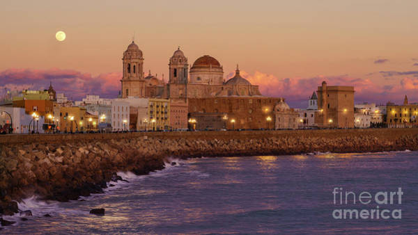 Photograph - Full Moon Over Cadiz Cathedral From Southern Field Andalusia Spain by Pablo Avanzini