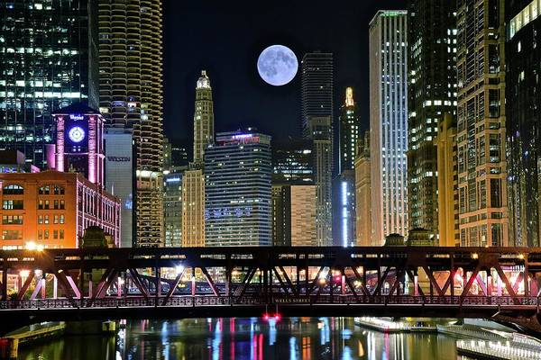 Wall Art - Photograph - Full Moon Over Chicago River 2019 by Frozen in Time Fine Art Photography