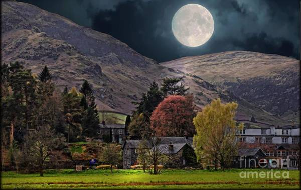 Glenridding Wall Art - Digital Art - Full Moon Over Glenridding by Ros Ridley