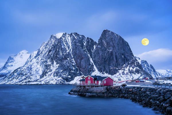 Photograph - Full Moon Over Hamnoy by Michael Blanchette