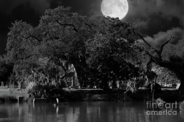 Photograph - Full Moon Over Magnolia Cemetery by Dale Powell