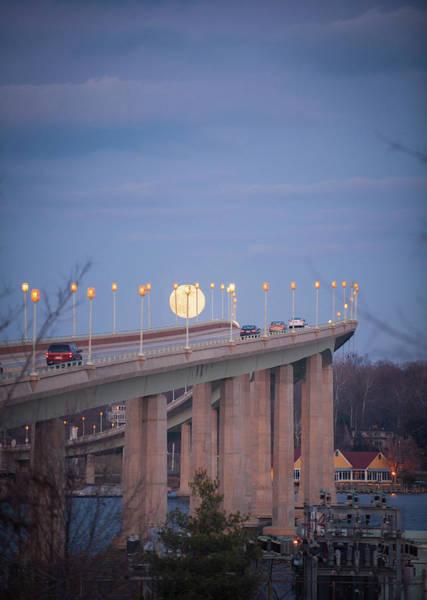 Photograph - Full Moon Over The Naval Academy Bridge by Mark Duehmig