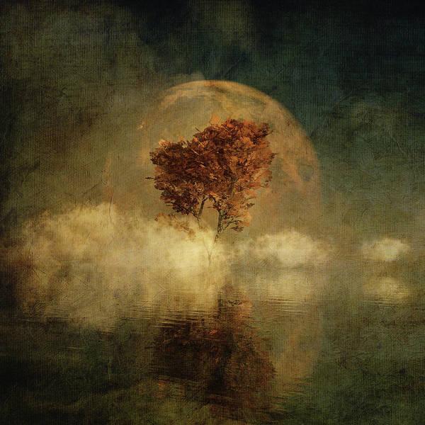 Digital Art - Full Moon Over Water by Jan Keteleer