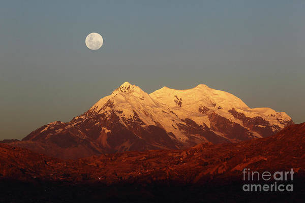 Bolivia Photograph - Full Moon Rise Over Mt Illimani by James Brunker