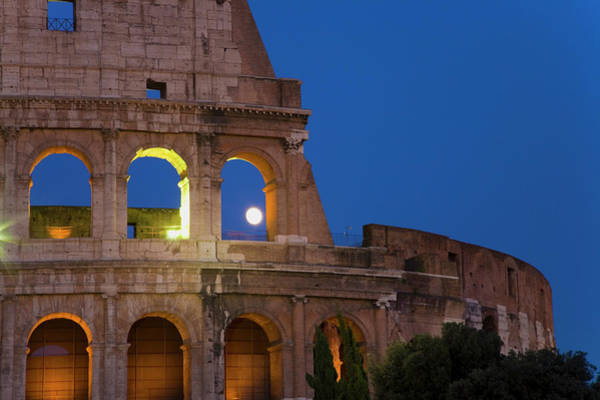 Period Photograph - Full Moon Rising Over The Colosseum Or by Panoramic Images