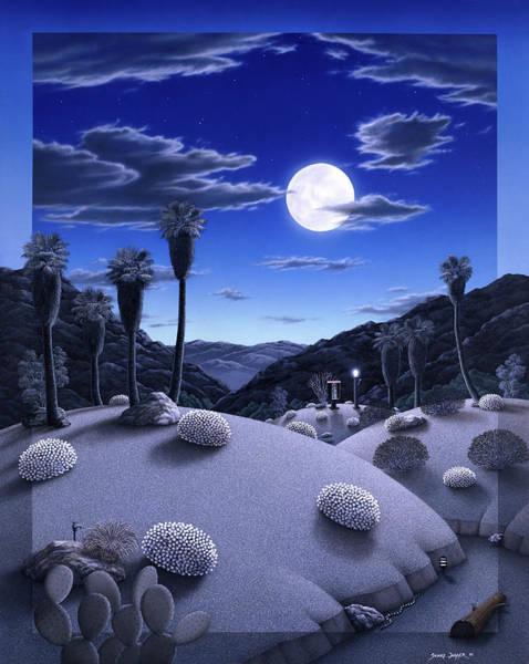 Desert Landscape Wall Art - Painting - Full Moon Rising by Snake Jagger