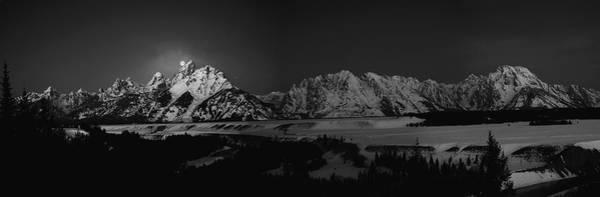 Photograph - Full Moon Sets In The Tetons Panorama by Raymond Salani III