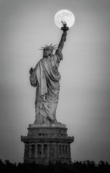 Photograph - Full Moon Statue Of Liberty Bw by Susan Candelario